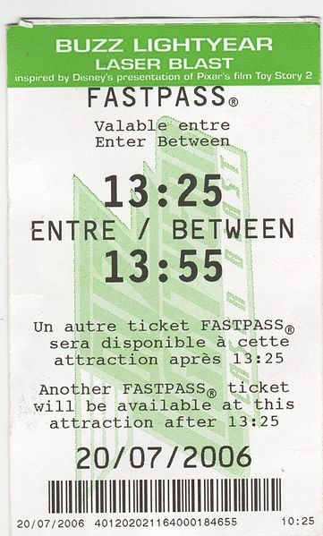 fastpass ticket for the Buzz lightyear laser blast