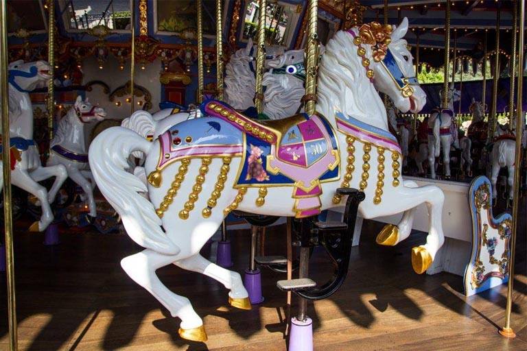 the lead horse of King Arthur Carousel at Disneyland