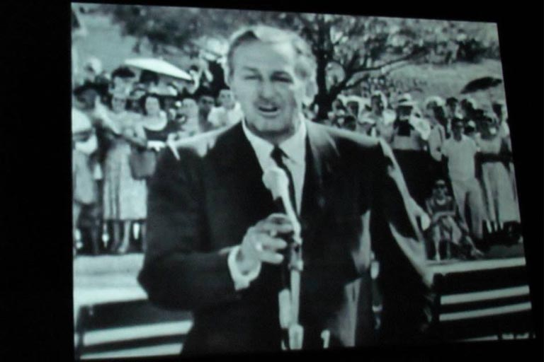 old photo of Walt Disney during the opening day of the Disneyland